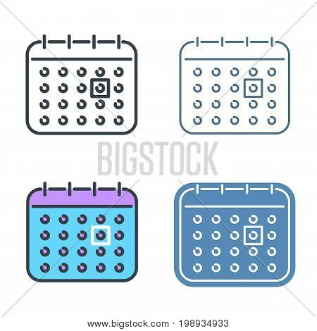 The calendar outline icon set. Office supply line symbols. Time reminder, agenda and  schedule linear pictograms. Vector thin contour infographic elements. Illustrations for web design, presentations.