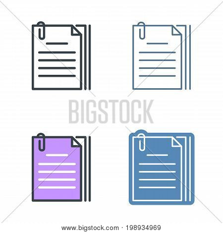 The document pile with paperclip outline icon set. Office supply line symbols. Sheets and clip linear pictograms. Vector thin contour infographic elements. Illustrations for web design, presentations.