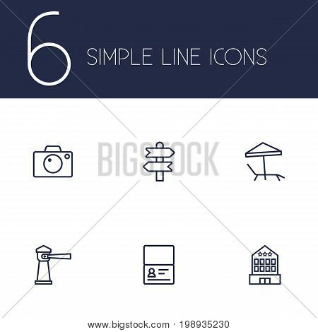 Set Of 6 Travel Outline Icons Set