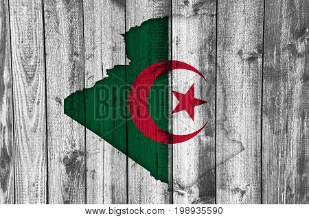 Map And Flag Of Algeria On Weathered Wood