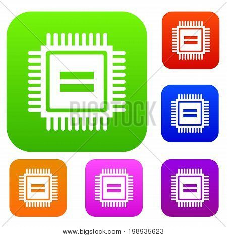 Electronic circuit board set icon in different colors isolated vector illustration. Premium collection