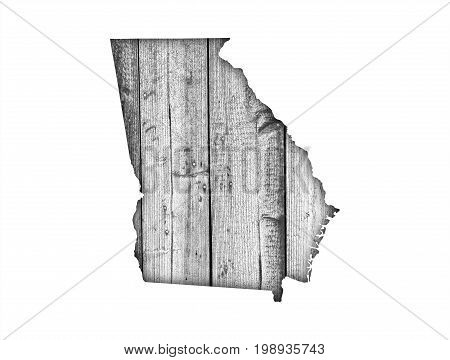 Map Of Georgia On Weathered Wood