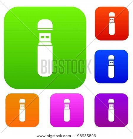 USB flash drive set icon in different colors isolated vector illustration. Premium collection