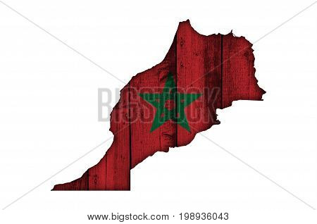 Map And Flag Of Morocco On Weathered Wood