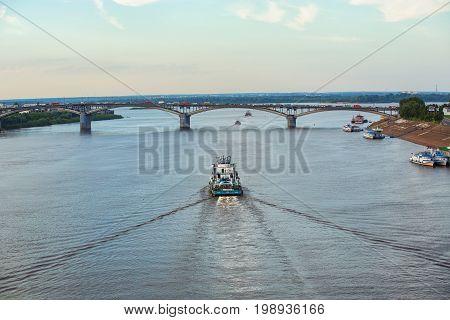 NIZHNY NOVGOROD RUSSIA - August 7 2017: View of river Oka and Kanavinsky bridge in Nizhny Novgorod Russia