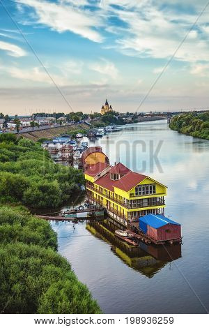 View of river Oka in Nizhny Novgorod Russia with banks and cathedral of St. Alexander Nevskiy on background