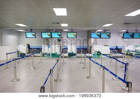 PHUKET, THAILAND - CIRCA NOVEMBER, 2015: check-in area at Phuket International Airport. Phuket International Airport is an international airport serving Phuket Province of Thailand.