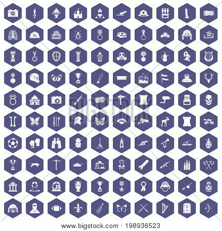 100 museum icons set in purple hexagon isolated vector illustration