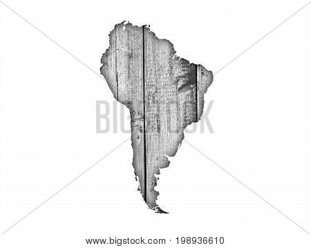 Map Of South America On Weathered Wood