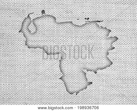 Map Of Venezuela On Old Linen