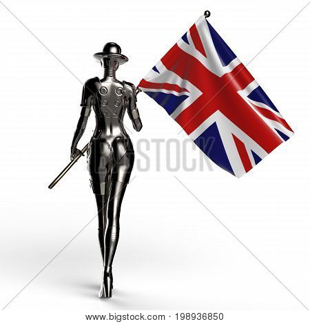 3D illustration. The stylish cyborg the woman with flag of Great Britain. Futuristic fashion android.