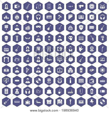 100 music icons set in purple hexagon isolated vector illustration