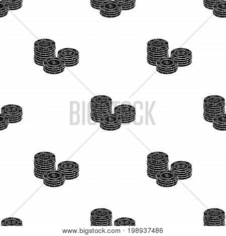 Playing chips. The settlement coin in the casino.Kasino single icon in black style vector symbol stock web illustration.