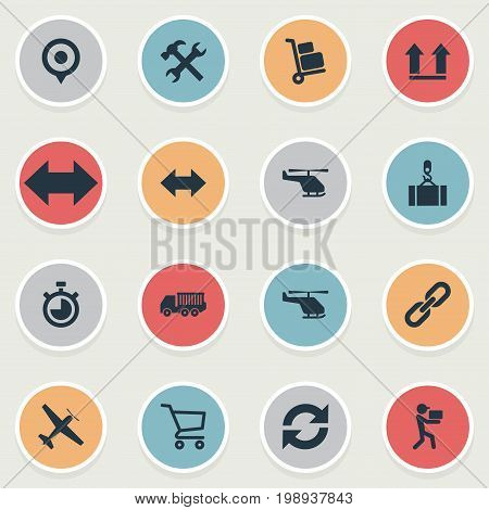 Elements Relation, Reverse, Cycle And Other Synonyms Link, Pushcart And Lifting.  Vector Illustration Set Of Simple Logistics Icons.
