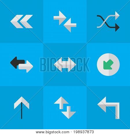 Elements Import, Export, Chaotically And Other Synonyms Everyway, Export And Arrow.  Vector Illustration Set Of Simple Arrows Icons.