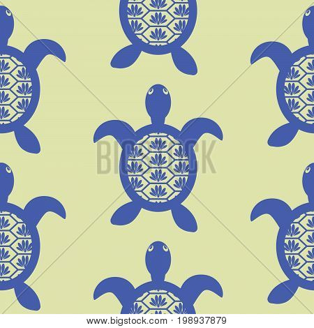 Blue openwork turtle seamless vector green pattern. Simple tileable ocean animal hawaii background for textile fabric and apparel print.