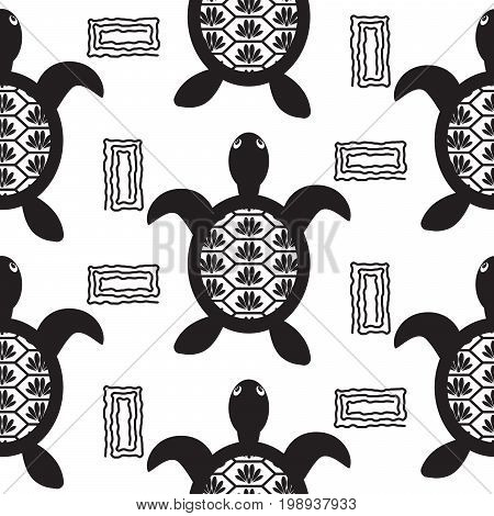 Turtle black stencil seamless vector pattern. Monochrome tileable ocean animal hawaii background for textile fabric, wallpaper and apparel print.