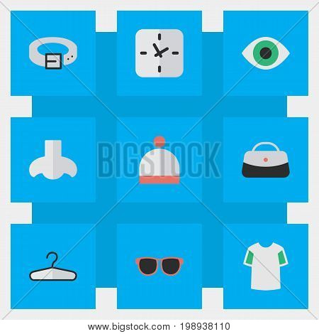 Elements Strap, Jersey, Glasses And Other Synonyms Scent, Waist And Hat.  Vector Illustration Set Of Simple Instrument Icons.
