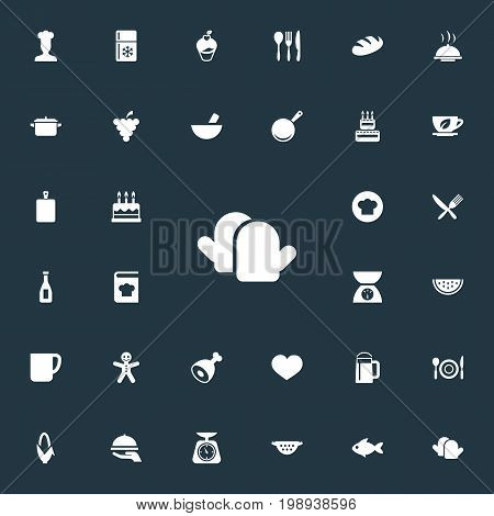 Elements Hot Dish, Friedge, Weighing And Other Synonyms Cook, Pot And Restaurant.  Vector Illustration Set Of Simple Food Icons.
