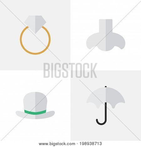 Elements Engagement, Headgear, Parasol And Other Synonyms Umbrella, Scent And Wear.  Vector Illustration Set Of Simple Instrument Icons.