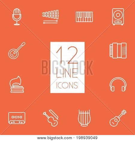 Set Of 12 Song Outline Icons Set
