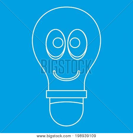 Smiling light bulb with eyes icon blue outline style isolated vector illustration. Thin line sign