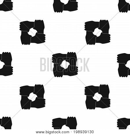 Ring of hands icon in black design isolated on white background. Charity and donation symbol stock vector illustration.