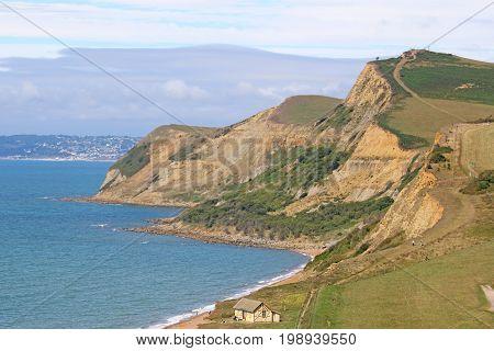 cliffs along the coast of Eype in Dorset