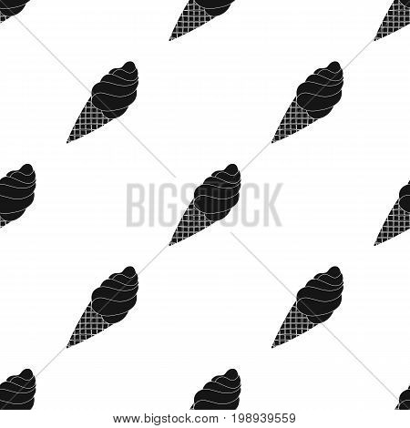 Chocolate ice-cream icon in black design isolated on white background. Chocolate desserts symbol stock vector illustration.