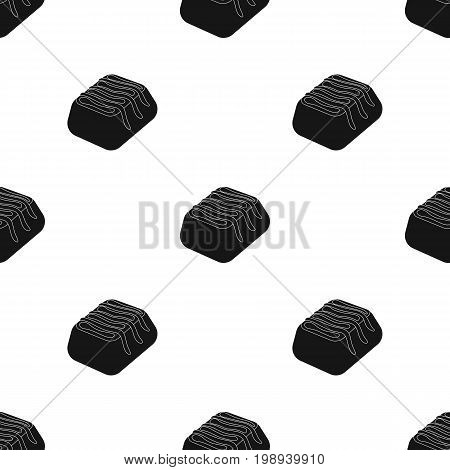 Chocolate candy icon in black design isolated on white background. Chocolate desserts symbol stock vector illustration.