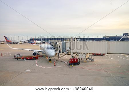 CHICAGO, IL - MARCH 22, 2016: passenger jet aircraft at O'Hare Airport. Chicago O'Hare International Airport is an international airport located on the Far Northwest Side of Chicago, Illinois.