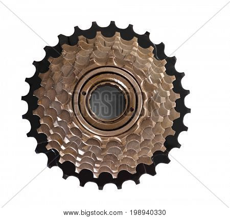 Bicycle cassette on white background