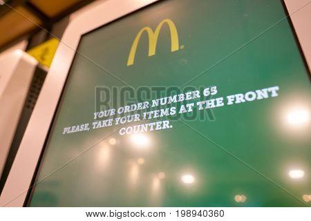 BUSAN, SOUTH KOREA - CIRCA MAY, 2017: close up shot of ordering kiosk at McDonald's. McDonald's is an American hamburger and fast food restaurant chain.