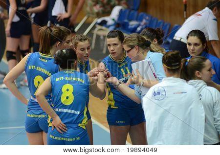 KAPOSVAR, HUNGARY - JANUARY 14: Kaposvar players at the Hungarian NB I. League woman volleyball game Kaposvar vs Ujbuda, January 14, 2011 in Kaposvar, Hungary.