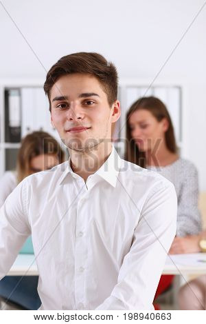 Handsome smiling businessman in suit portrait at workplace look in camera. White collar worker at workspace exchange market job offer certified public accountant internal Revenue officer concept