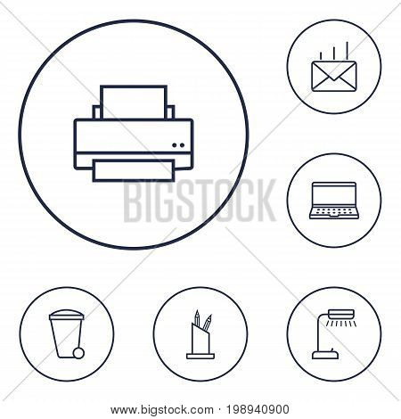 Set Of 6 Work Outline Icons Set