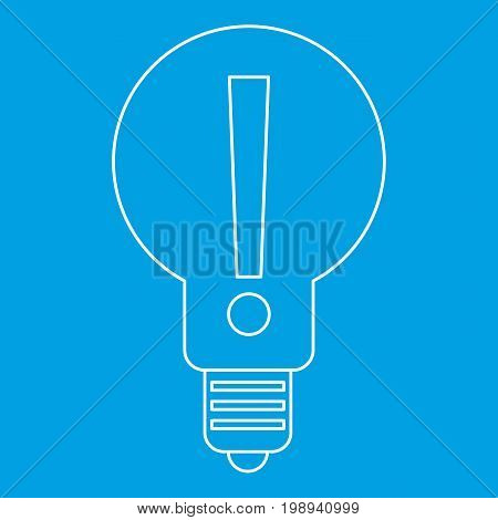 Light bulb with exclamation mark inside icon blue outline style isolated vector illustration. Thin line sign