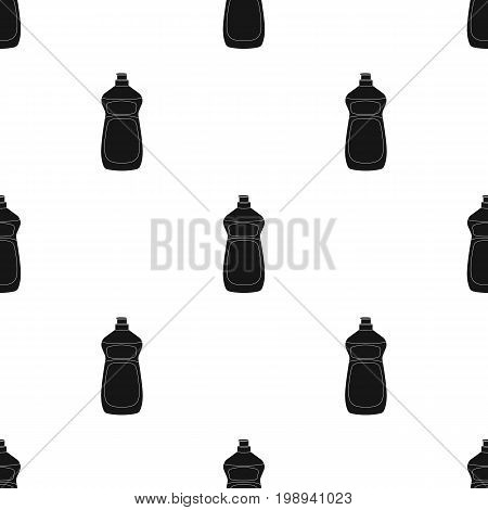 Dishwashing soap icon in black design isolated on white background. Cleaning symbol stock vector illustration.