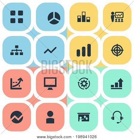 Elements Increase Graph, Segment, Vector And Other Synonyms Technology, Seminar And Avatar.  Vector Illustration Set Of Simple Seminar Icons.