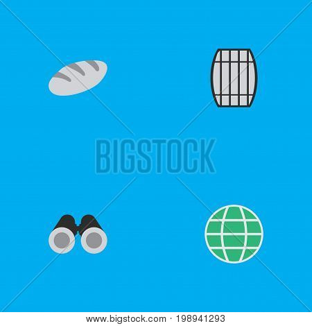 Elements Optical Zoom, Bakery, Cask And Other Synonyms Food, Zoom And Globe.  Vector Illustration Set Of Simple Relax Icons.