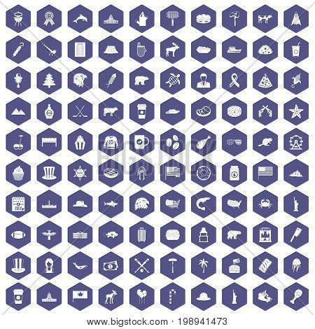 100 North America icons set in purple hexagon isolated vector illustration