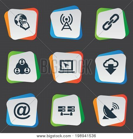 Elements Data Center, Teamwork, Sputnik Signal And Other Synonyms Link, Click And Server.  Vector Illustration Set Of Simple Browser Icons.