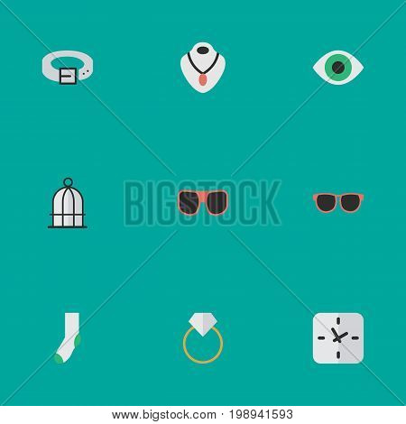 Elements Eye Accessory, Strap, Engagement And Other Synonyms Prison, Sunglasses And Engagement.  Vector Illustration Set Of Simple Instrument Icons.