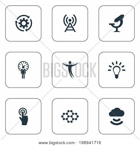 Elements Idea, Broadcast, Remote Storage And Other Synonyms Idea, Optical And Bulb.  Vector Illustration Set Of Simple Invention Icons.