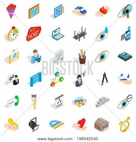 Work calendar icons set. Isometric style of 36 work calendar vector icons for web isolated on white background