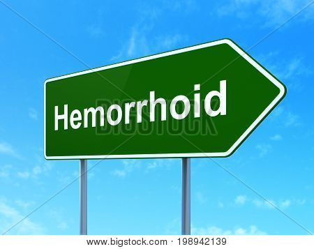Medicine concept: Hemorrhoid on green road highway sign, clear blue sky background, 3D rendering