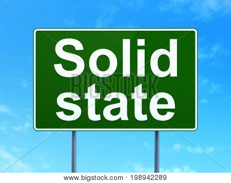 Science concept: Solid State on green road highway sign, clear blue sky background, 3D rendering