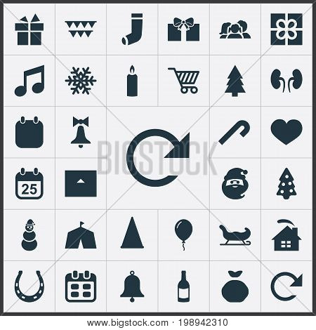 Elements Decoration, Christmas Character, Sledge And Other Synonyms Balloon, Fortune And Organs.  Vector Illustration Set Of Simple Celebration Icons.