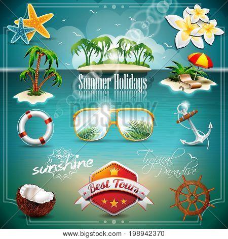 Vector Summer Holiday Icon Set On Blue Sea Background. Eps10 Illustration.