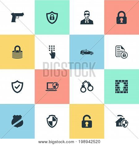 Elements Protected Document, Cop Automobile, Padlock And Other Synonyms Safe, Code And Penitentiary.  Vector Illustration Set Of Simple Security Icons.